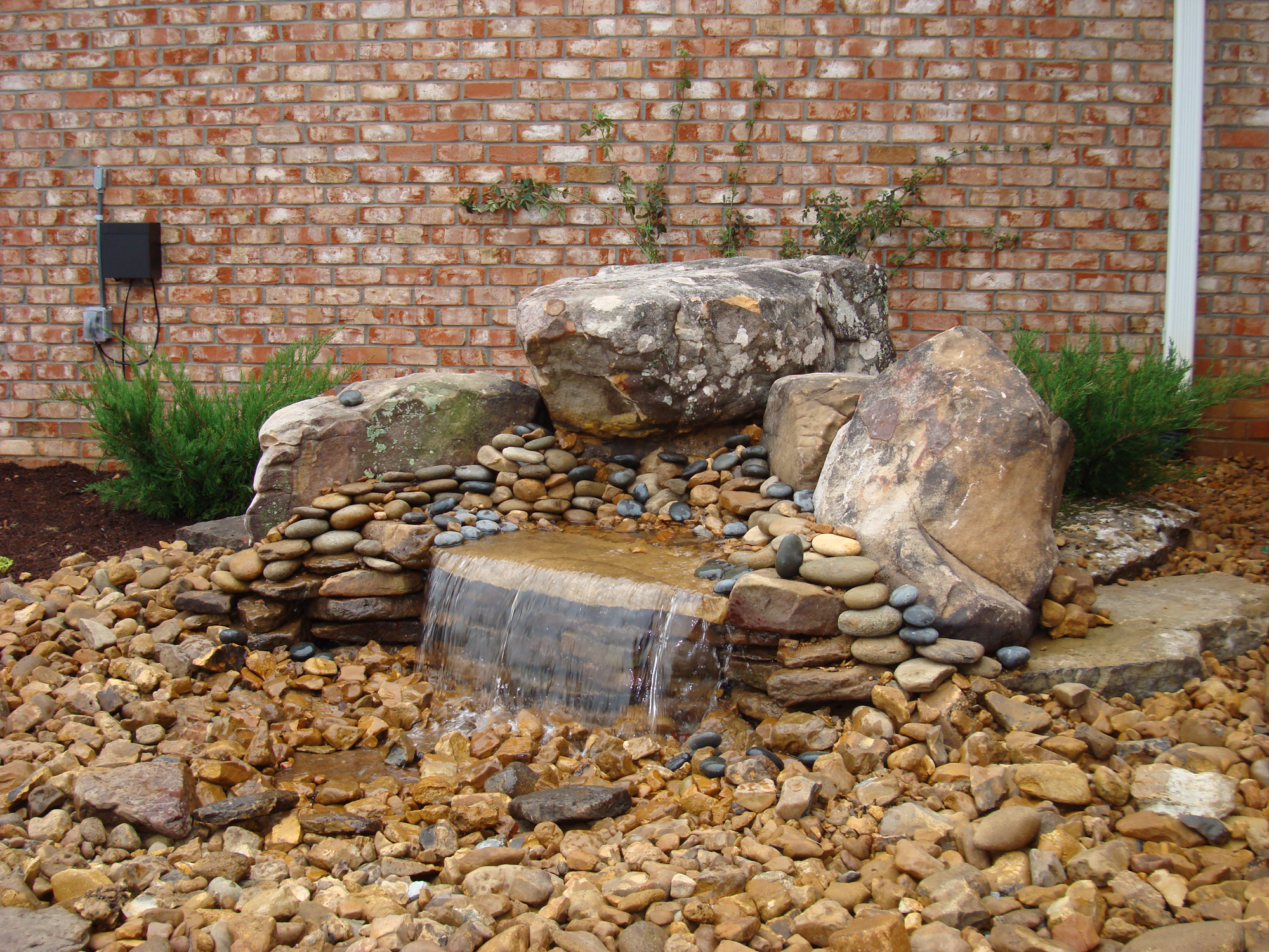 How to build a pondless waterfall backyard blessings for Small pond water feature