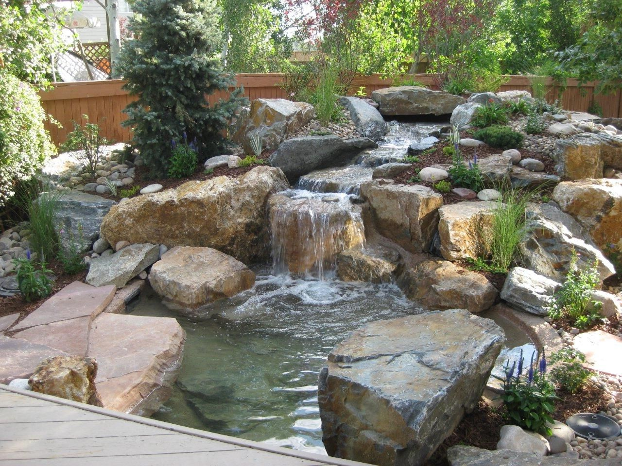 Water features garden state irrigation and lighting for Pond features and fountains